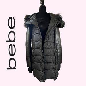 Bebe Black Puffer Winter Coat Faux Fur Leather Sleeve Jacket Parka